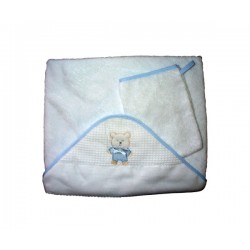 Bath Baby Cape and Wash Mitt - Teddy Bear - Light Blue