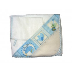 Bath Baby Cape and Wash Mitt - Baby Fancy - Light Blue