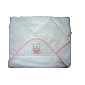 Bath Baby Cape and Wash Mitt - Teddy Bear - Pink