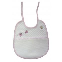 Bavaglino Neonato da Ricamare -  Piquet - Farfalline Rosa