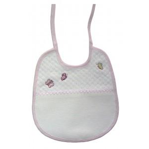 Babero Bebé Piquet - Mariposas - Color Rosa