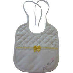 Large Baby Bib - Vichy Line - Yellow