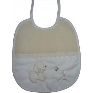 Babero para Bebé - Color Crema con Perrito