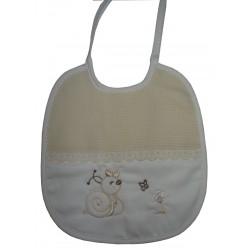 Babero para Bebé - Color Crema con Caracol