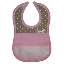 Baby Bib to Cross Stitch - Pink and Ivory with White Dots