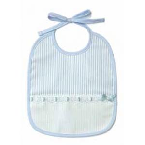 DMC - Bavaglino Righe per Bebè 6 Mesi - Celeste - Art. RS1968