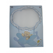 Baby Cockade Announcement - Airplane with Teddy Bear - Light Blue