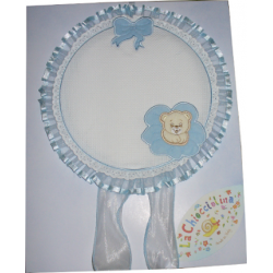 Baby Cockade Announcement - Light Blue Round  with Teddy Bear