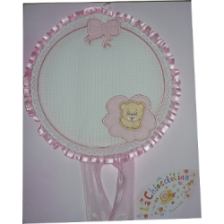 Baby Cockade Announcement - Pink Round  with Teddy Bear