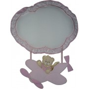 Baby Cockade Announcement - Airplane with Teddy Bear - Pink