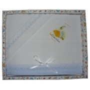 Stitchable Baby Bed Sheets - Light Blue with St Gallen Border
