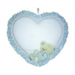 Colgante para la Puerta del Bebè - Corazon con Oso Feliz de Color Azul