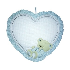 Baby Cockade Announcement - Light Blue Heart  with Happy Teddy Bear