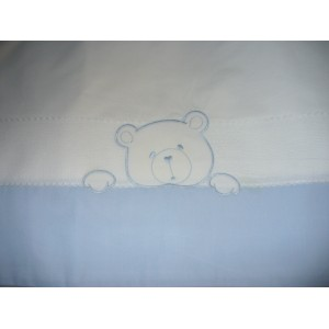 Baby Bed Sheet Set with Teddy Bear - Light Blue