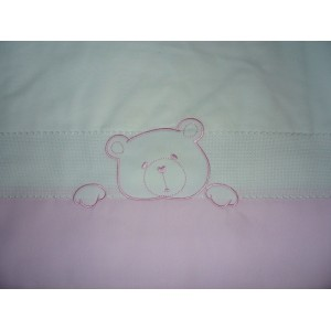 Baby Bed Sheet Set with Teddy Bear - Pink