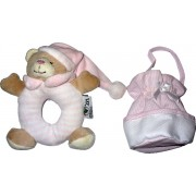 Teddy Bear and Pacifier Holder with Aida Band - Pink