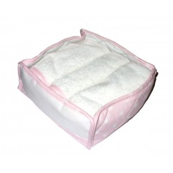 Canasta Portatoallas de Esponja para Bordar - Lunares Rosa