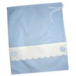 Kindergarden Bag  with Little Heart and Apple - Light Blue Squares