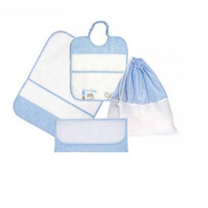 Kindergarten Linen Set for Lunch - Painting Linen - Light Blue