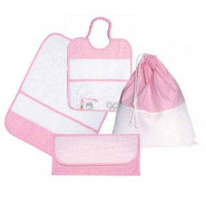 Kindergarten Linen Set for Lunch - Painting Linen - Pink