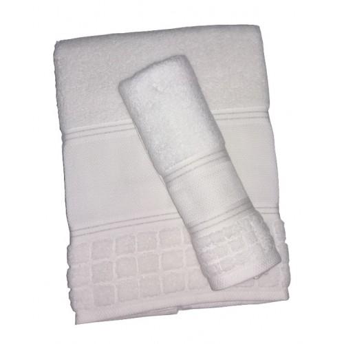 Coppia Asciugamani Spugna da Ricamare - Olivia - Bianco