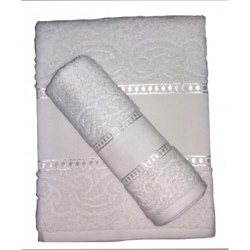 Coppia Asciugamani Spugna da Ricamare - Manuela -  Colore Bianco