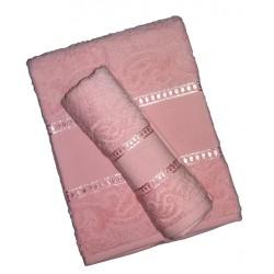 Coppia Asciugamani Spugna da Ricamare - Manuela -  Colore Rosa