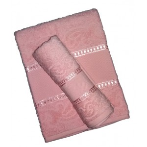 Bath Terry Towel to Cross Stitch - Manuela - Pink Color