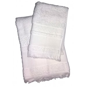 Bath Terry Towel to Cross Stitch - Fringe - White Color