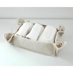 Ready to Cross Stitch Guest Towel Basket - Color Cream