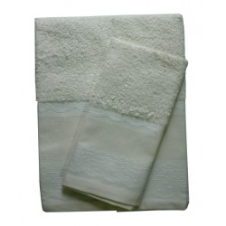 Elegant Terry Bath Towel - Lace - Ecru