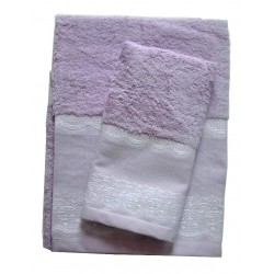Lilac Terry Bath Towel - Lace