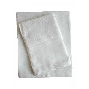 Elegant Terry Bath Towel - Lace - White