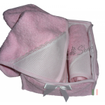 Guests Towel Basket  with Ready to Stitch Terry  Towels - Pink Dots