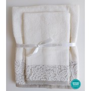 DMC - Coppia Asciugamani Spugna da Ricamare - Lino e Cotone - Art. CL112L