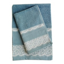 Elegant Terry Bath Towel - Lace - Blue