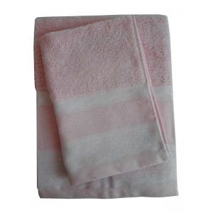 Elegant Terry Bath Towel - Lace - Pink