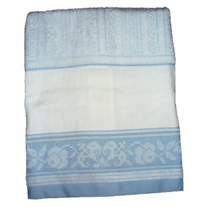 Fratelli Graziano - Bath Terry Towels with Aida Band - Filet - Color Light Blue