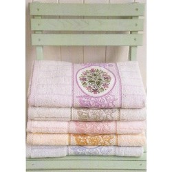 Bath Towels with Aida Insert - Lawns and Flowers - Light Blue