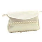 Large Cream Clutch Bag  with Aida Band