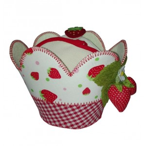 Strawberries Felt Basket with Pot Holder and Dishcloth to Cross Stitch