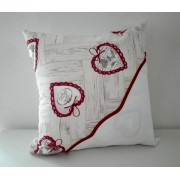 Pillow Cover to Cross Stitch - Red Love Hearts