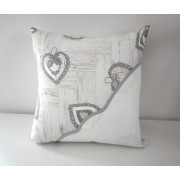 Pillow Cover to Cross Stitch - Grey Love Hearts