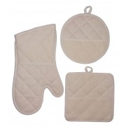 Ready to Cross Stitch Potholders and Oven Glove - Color Cream