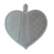Fabric Heart Potholder - Cream Squares