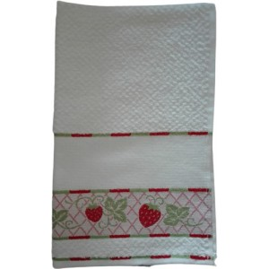 Kitchen Terry Towel with Aida Band - Strawberries