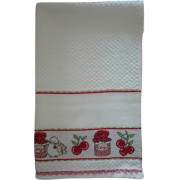 Kitchen Terry Towel with Aida Band - Cherries