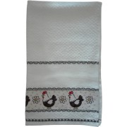 Kitchen Terry Towel with Aida Band - Hens