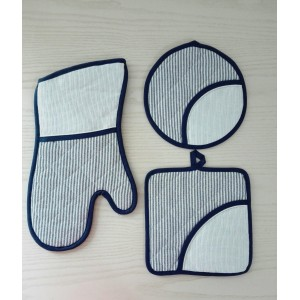 Set Presine e Guantoforno Ricamabile - Righine Blu