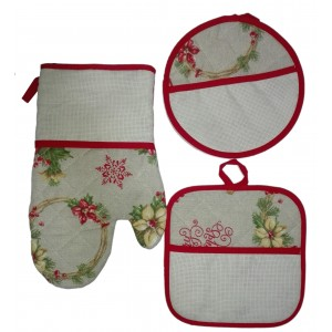 Potholders and Oven Gloves to Cross Stitch - Poinsettia